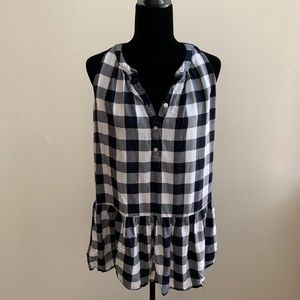 Loft Black and White Buffalo Plaid Peplum Tank Top